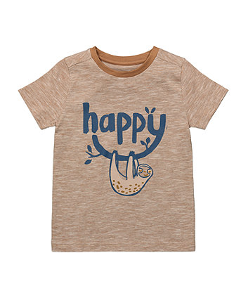Mothercare Tan Happy Sloth T-Shirt