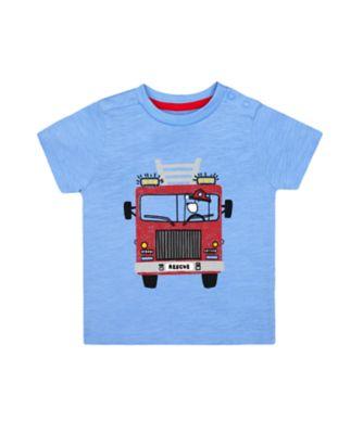 Mothercare Red Alert Blue Fire Engine Short Sleeve T-Shirt