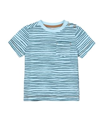 Mothercare Eco Safari Blue Wave-Stripe Short Sleeve T-Shirt