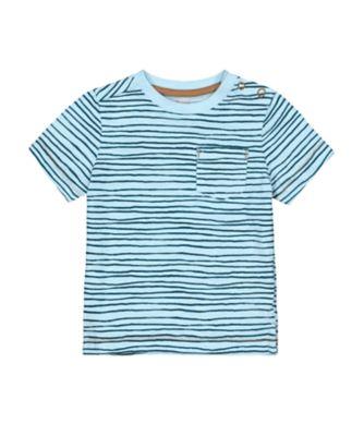 Mothercare Eco Safari Blue Wave-Stripe Short Sleeve T-Shirt