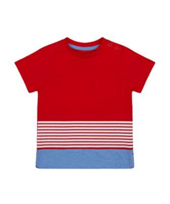 Mothercare Red Alert Multi-Stripe Short Sleeve T-Shirt