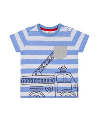 Mothercare Red Alert Blue Striped Fire Engine Short Sleeve T-Shirt