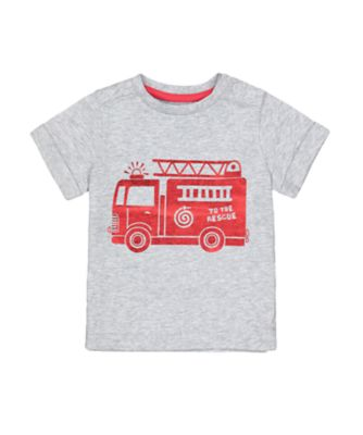 Mothercare Red Alert Grey Foil Fire Engine Short Sleeve T-Shirt