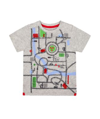 Mothercare Red Alert Grey Fire Engine And Car Short Sleeve T-Shirt