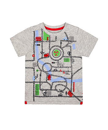Mothercare Grey Fire Engine And Car T-Shirt