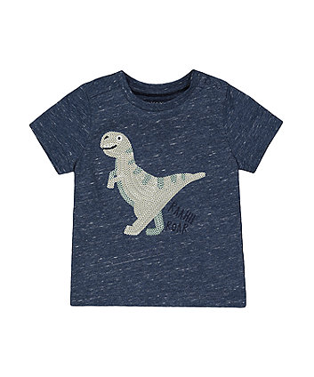 Mothercare Blue Sequin Dinosaur T-Shirt