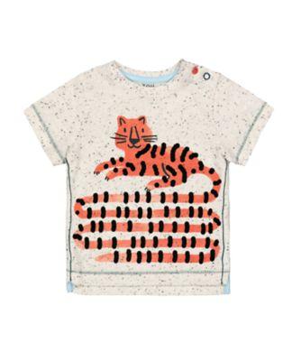 Mothercare Eco Safari Grey Textured Long-Tail Tiger Short Sleeve T-Shirt