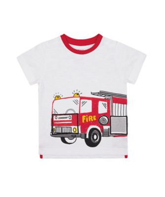 Mothercare Red Alert White Lift-The-Flap Fire Engine Short Sleeve T-Shirt
