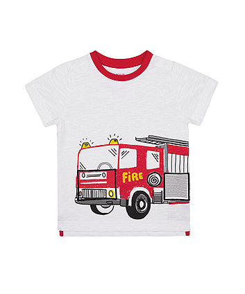 Mothercare Fashion White Lift-The-Flap Fire Engine T-Shirt