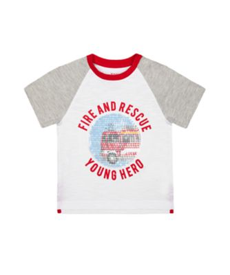Mothercare Red Alert Fire And Rescue Sequin Short Sleeve T-Shirt
