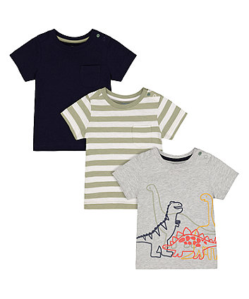 Mothercare Grey Dinosaur, Green Stripe And Navy T-Shirts - 3 Pack