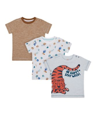 Mothercare Eco Safari Tiger And Paws Short Sleeve T-Shirts - 3 Pack