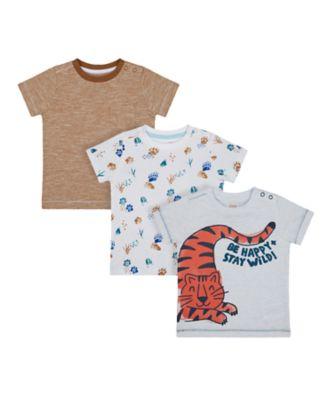 Mothercare Eco Safari Tiger And Paws Short Sleeve T-Shirts - 3 Pack