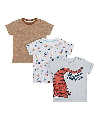 Mothercare Safari Tiger And Paws T-Shirts - 3 Pack