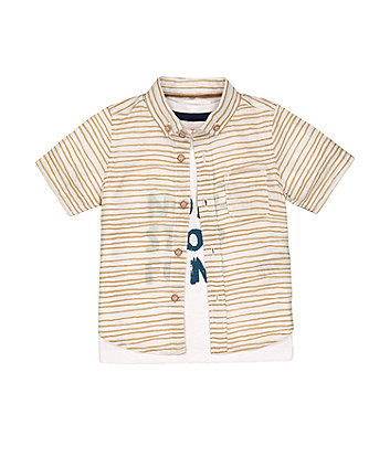 Mothercare Shirt And Non-Stop Fun T-Shirt Set