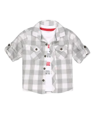 Mothercare Red Alert Grey Checked Long Sleeve Shirt And T-Shirt Set