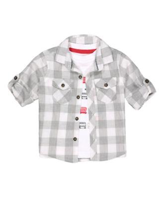 Mothercare Red Alert Grey Checked Long Sleeve Shirt And T-Shirt Set