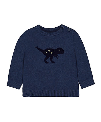 Mothercare Blue Dinosaur Knitted Jumper