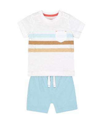 Mothercare Eco Safari Multi-Stripe T-Shirt And Shorts Set