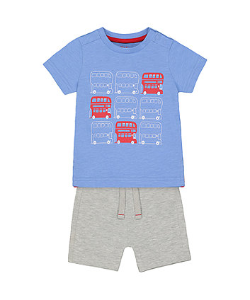 Mothercare Blue Double-Decker Bus And Grey Shorts Set
