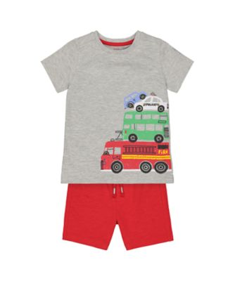 Mothercare Red Alert Vehicle Shorts And T-Shirt Set