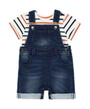 Mothercare Denim Bibshorts And T-Shirt Set