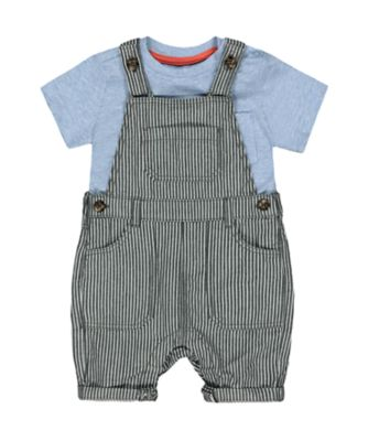 Mothercare Eco Safari Striped Denim Bibshorts And T-Shirt Set