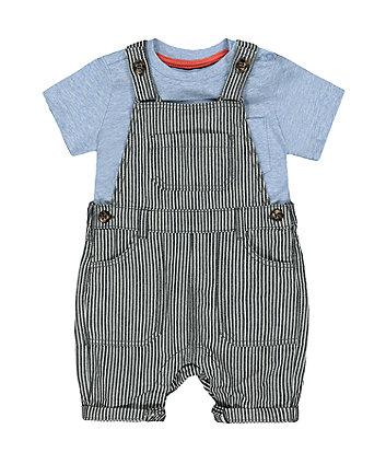 Mothercare Striped Denim Bibshorts And T-Shirt Set