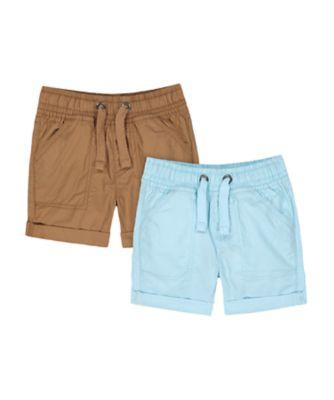 Mothercare Eco Safari Blue And Brown Shorts - 2 Pack