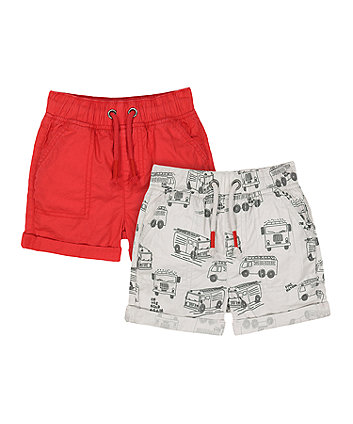 Mothercare Fire Engine Poplin Shorts - 2 Pack