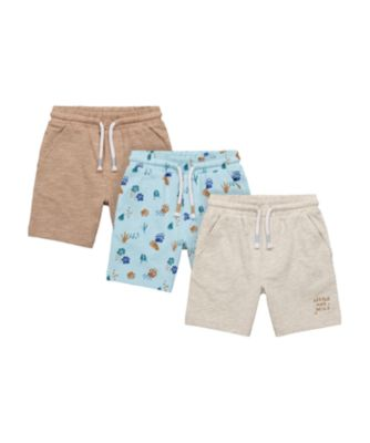 Mothercare Eco Safari Little And Wild, Paw Print And Brown Shorts - 3 Pack