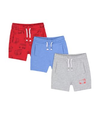 Mothercare Red Alert Fire Engine Jersey Shorts - 3 Pack