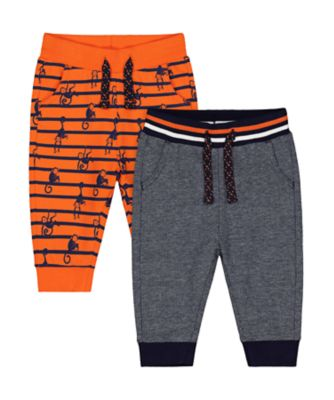 Mothercare Ahoy Matey Orange And Grey Joggers - 2 Pack