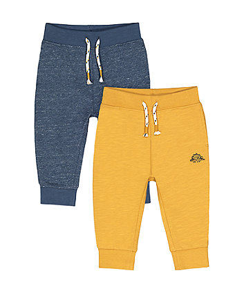 Mothercare Navy And Yellow Dinosaur Joggers - 2 Pack