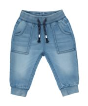 Mothercare Ribbed-Waist Jeans - Light Wash