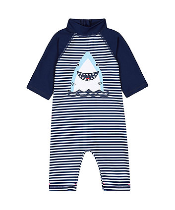 Mothercare Navy Striped Shark Sunsafe