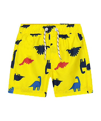 Mothercare Yellow Dinosaur Board Shorts