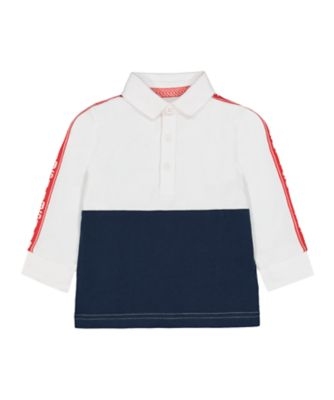 Mothercare MC61 White And Navy Tape Rugby T-Shirt