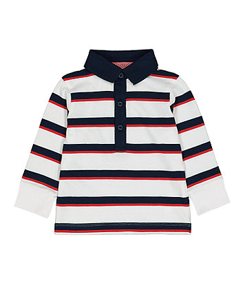 Mothercare Navy And Red Striped Rugby Shirt
