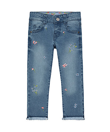 Mothercare Embroidered Frayed Hem Jeans