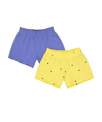 Mothercare Navy Pop Yellow Stripe And Blue Frilled Shorts - 2 Pack