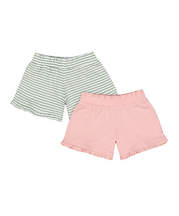Mothercare Fashion Green Stripe And Pink Frilled Shorts - 2 Pack