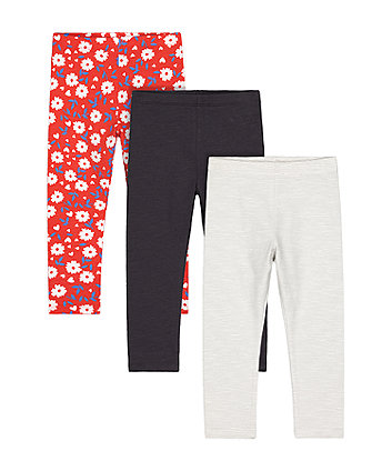 Mothercare Grey Stripe, Charcoal And Red Floral Leggings - 3 Pack