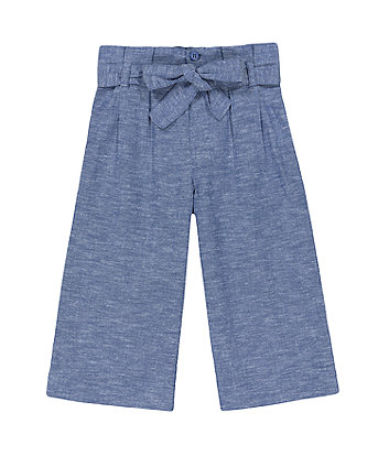 Mothercare Blue Chambray Palazzo Wide-Leg Trousers