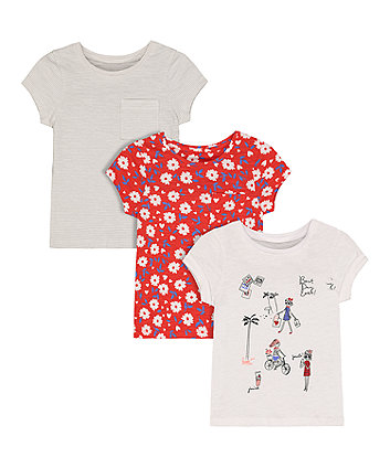 Mothercare Red Floral, Grey Stripe And Best Day Ever Print T-Shirts - 3 Pack