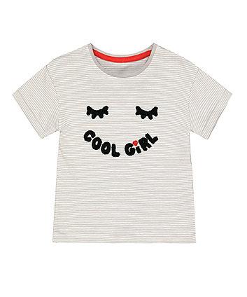 Mothercare Grey Stripe Cool Girl T-Shirt