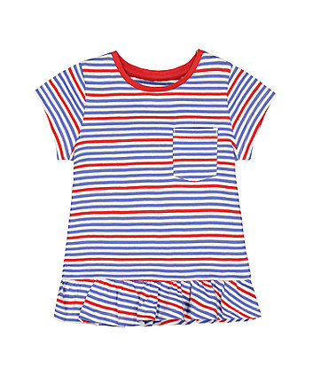 Mothercare Red And Blue Stripe Frill T-Shirt