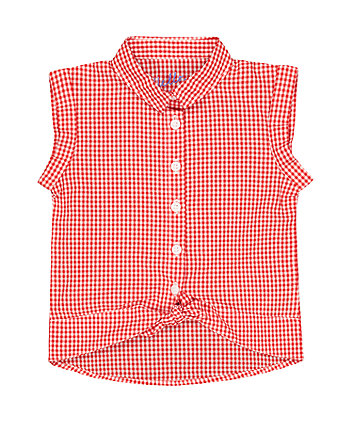 Mothercare Red And White Gingham Tie T-Shirt