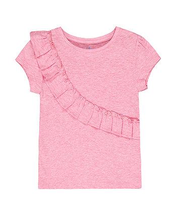 Mothercare Pink Marl Diagonal Frill T-Shirt
