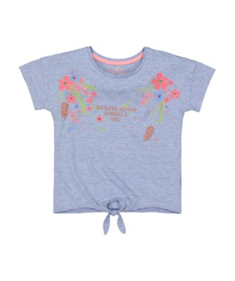 Mothercare Go West Blue Slub Short Sleeve T-Shirt With Front Tie